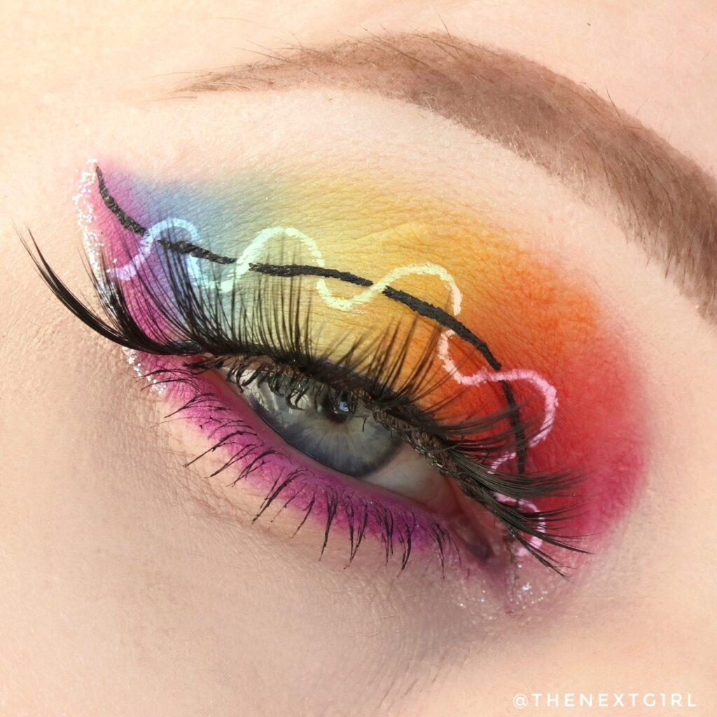 Regenboog ooglook met CP She's a Rainbow en wet liners