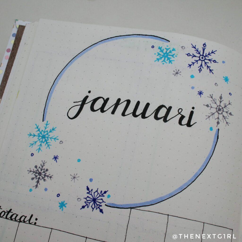 Bullet Journal idee monthly spread januari sneeuwvlokken