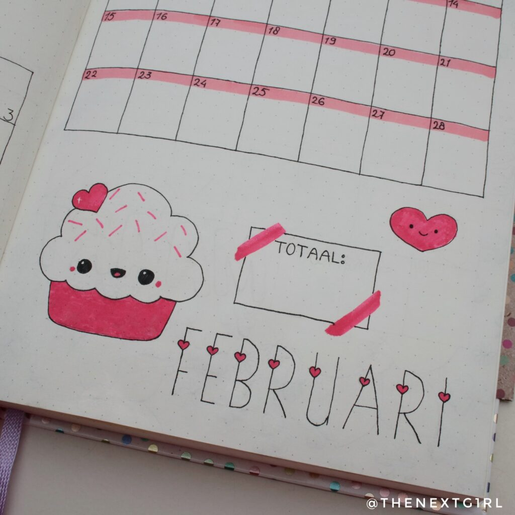 Bullet Journal idee monthly spread februari kawaii cupcake