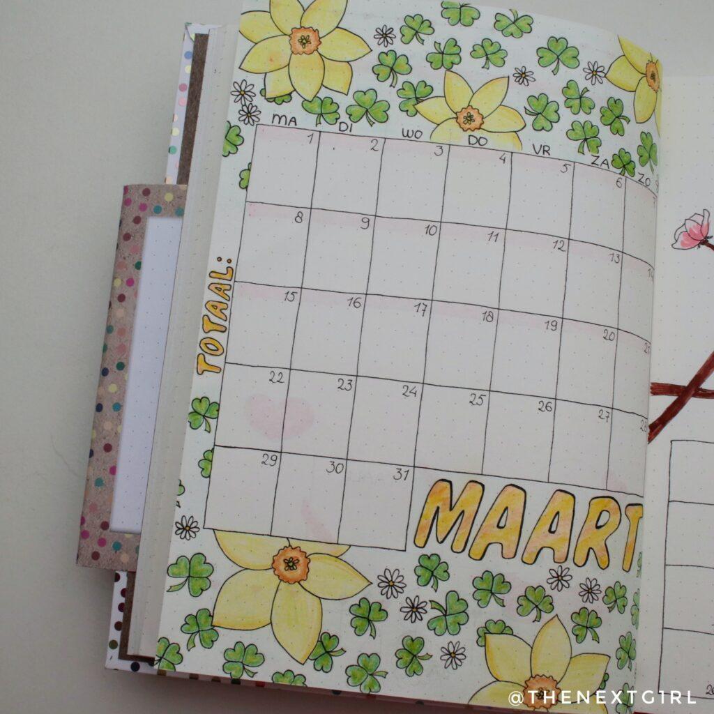 Bullet Journal idee monthly spread maart