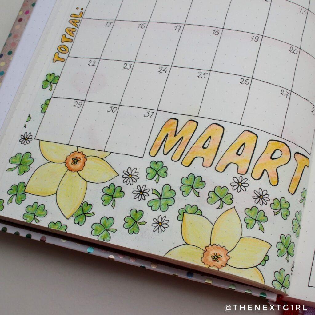 Bullet Journal idee monthly spread maart narcissen