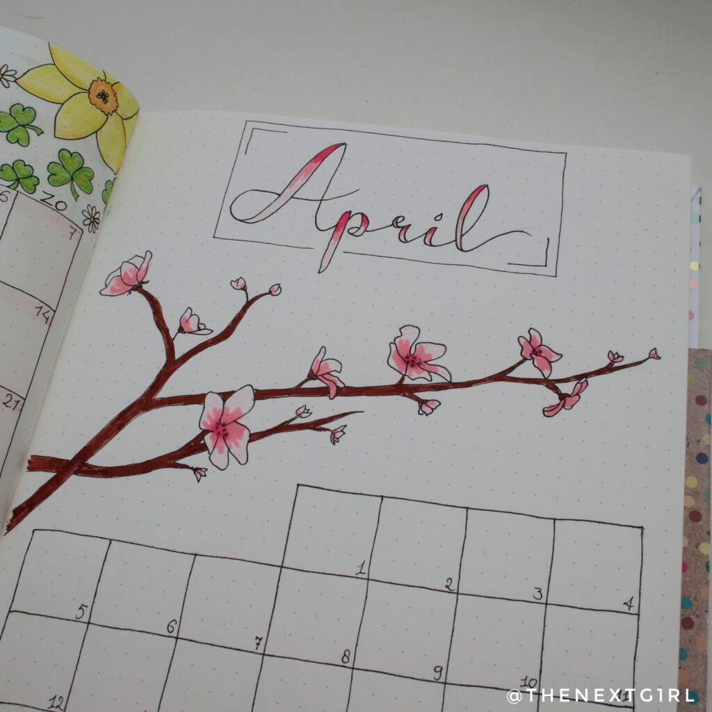 Bullet Journal idee monthly spread april japanse bloesem