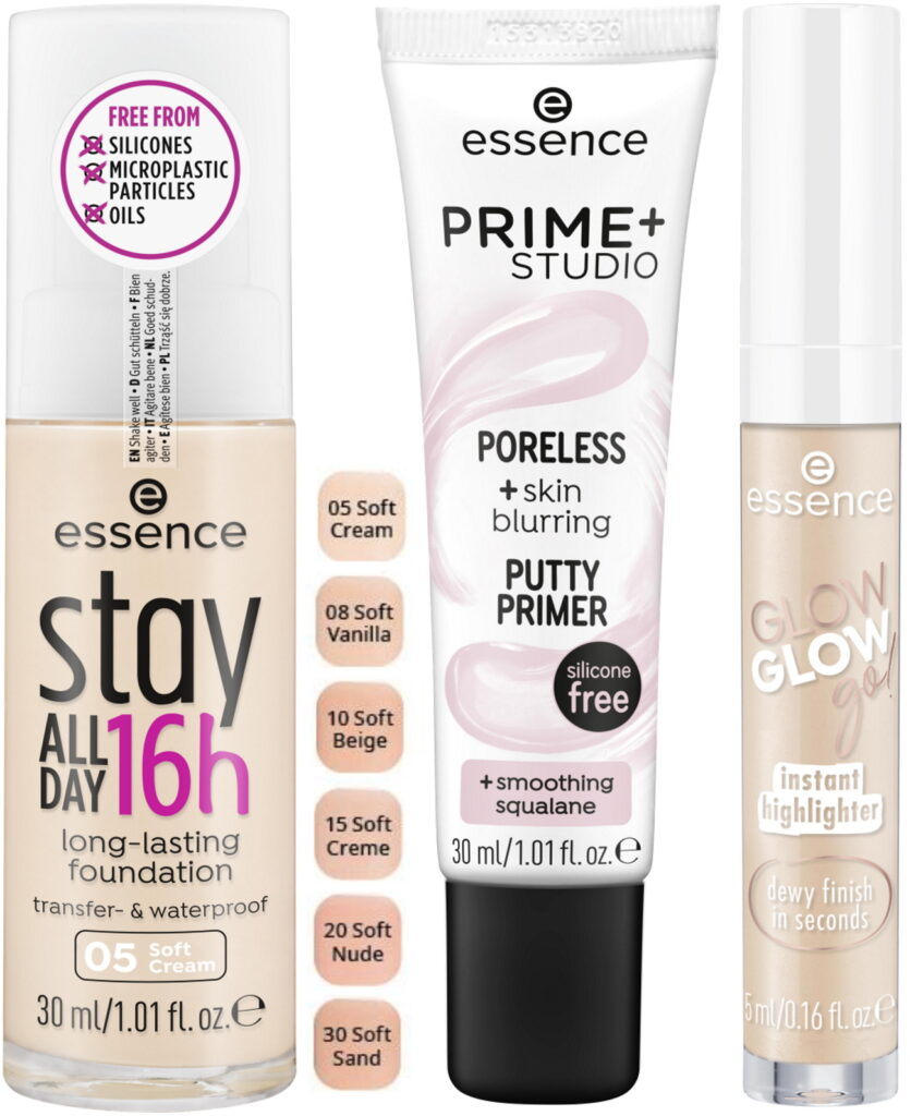 Essence relaunch 2021 stay all day foundation primer highlighter