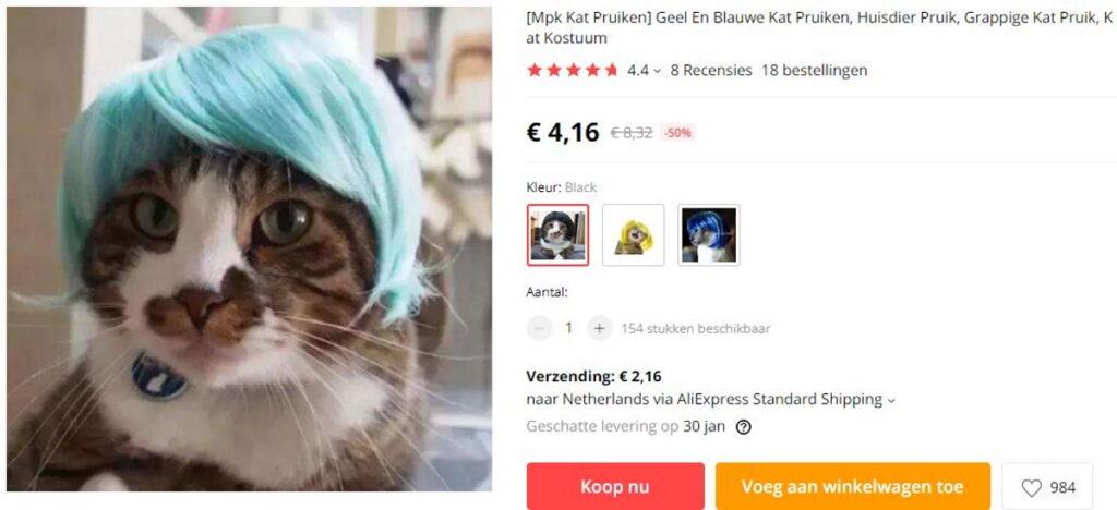 Pruik voor katten