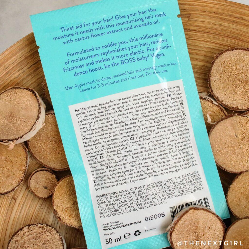 Action haarmasker cactus ingredienten en gebruiksadvies