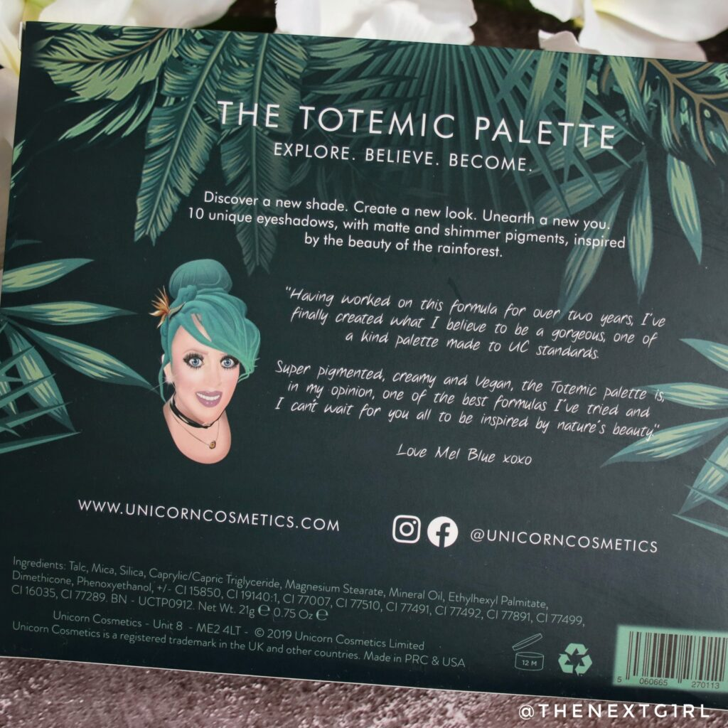 Unicorn Totemic palette back info