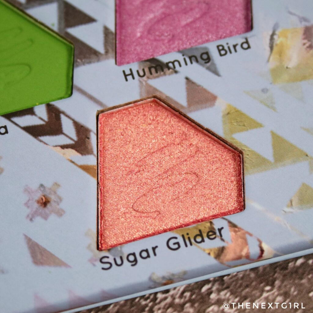 Close-up van koraalkleurige shimmer shade Sugar Glider
