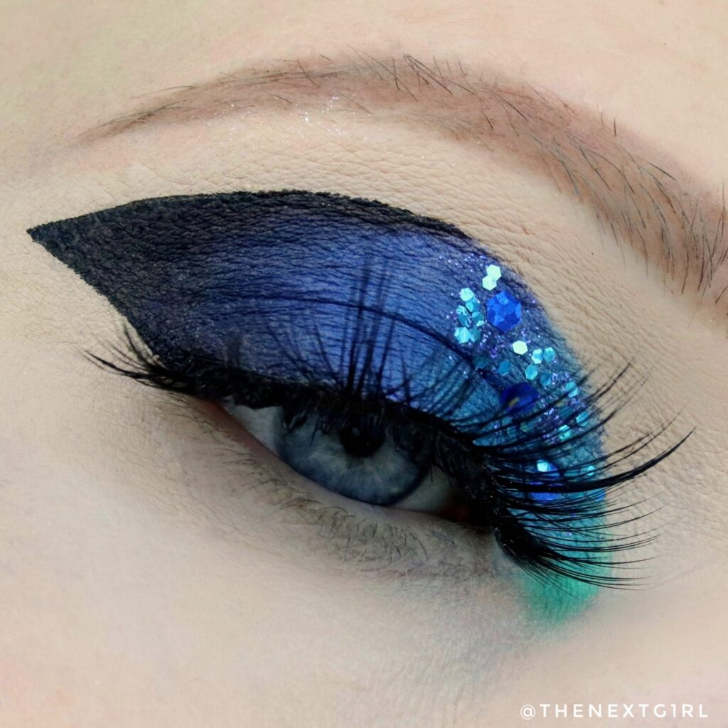 Blauwe look met glitters