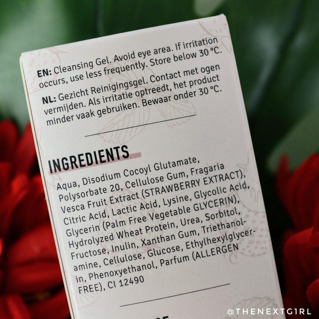 clay&glow cleansing gel aardbei ingredienten