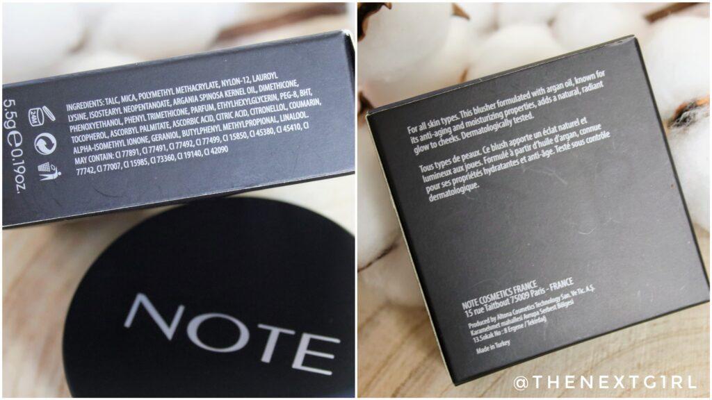 Ingredienten en informatie NOTE blusher
