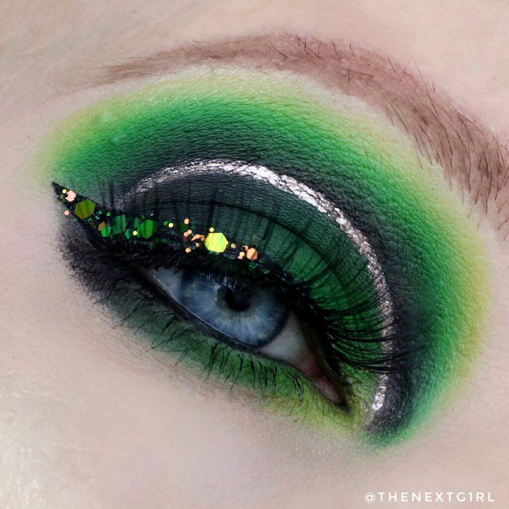 Groene ooglook met BPerfect Carnival3 palette en LA Colors Chrome eyeliner