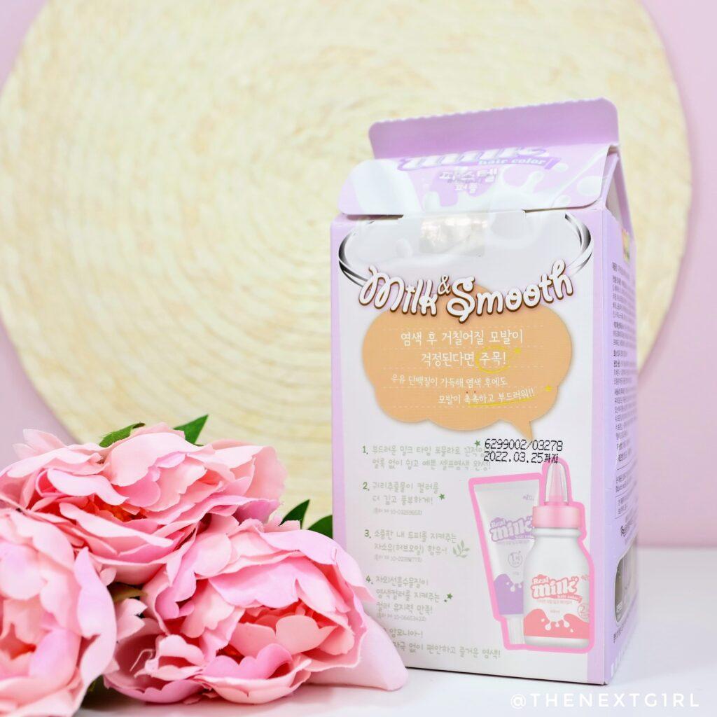 Achterkant verpakking Real Milk eZn paarse haarverf