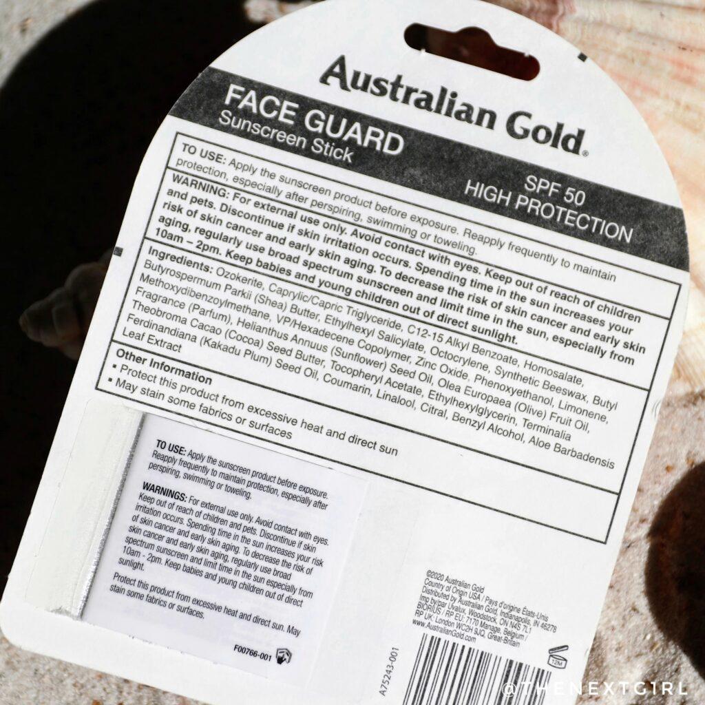 Face Guard sunscreen stick SPF 50 ingredienten