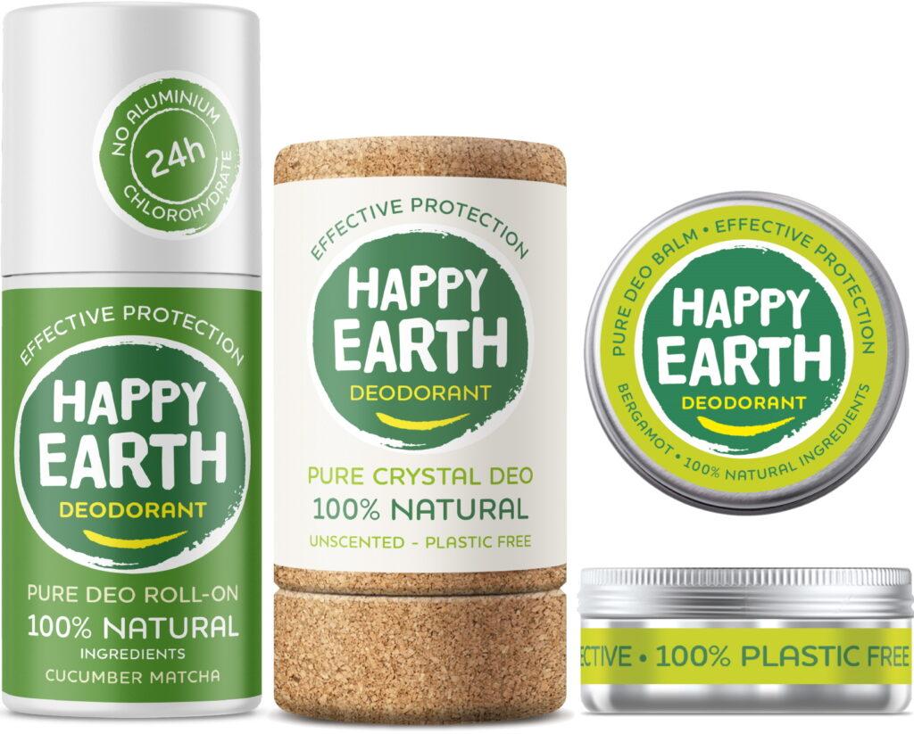 Happy Earth natuurlijke deodorant roller en balsem