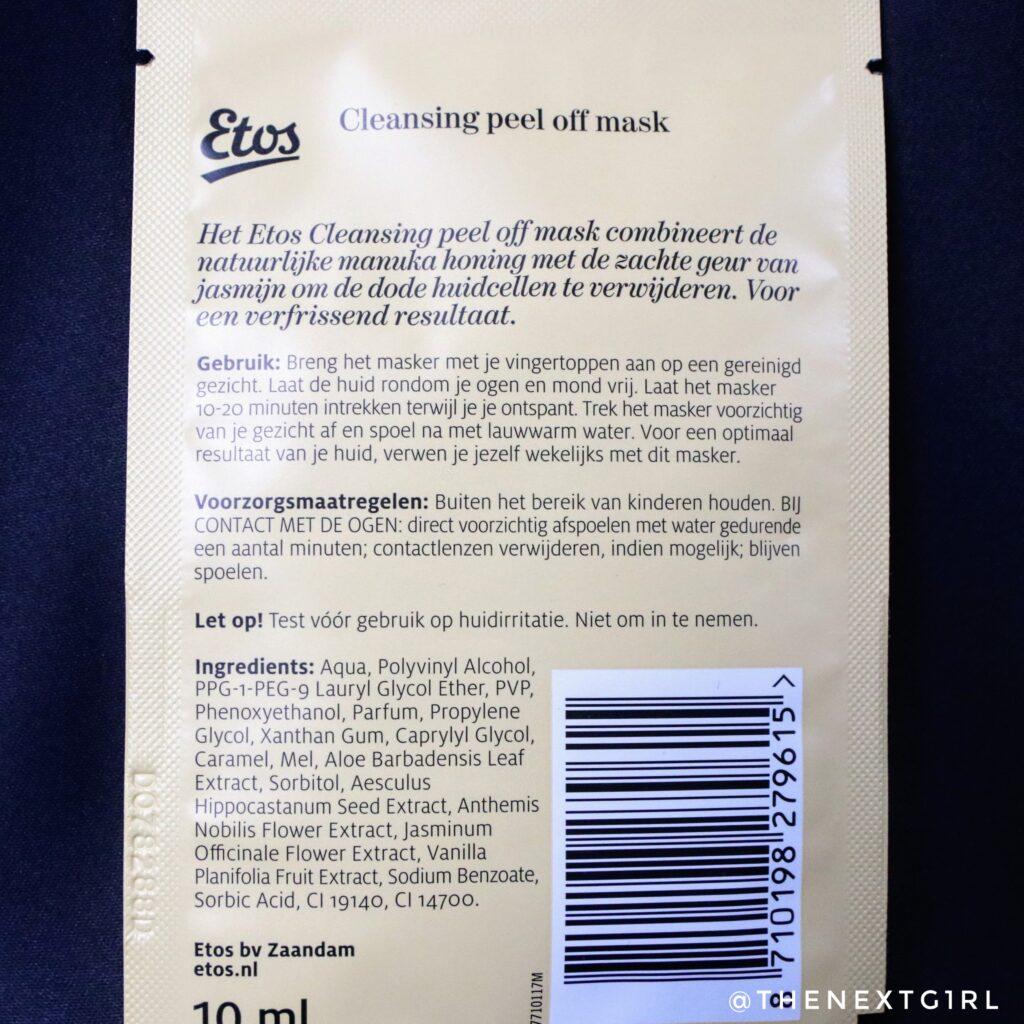 Informatie peeloff honing masker van Etos