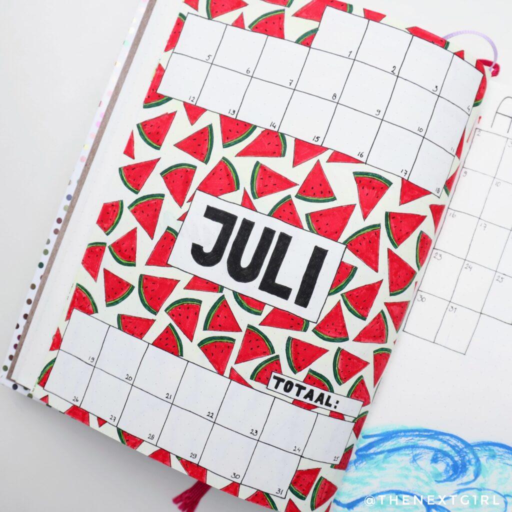 bujo monthly spread july 2021