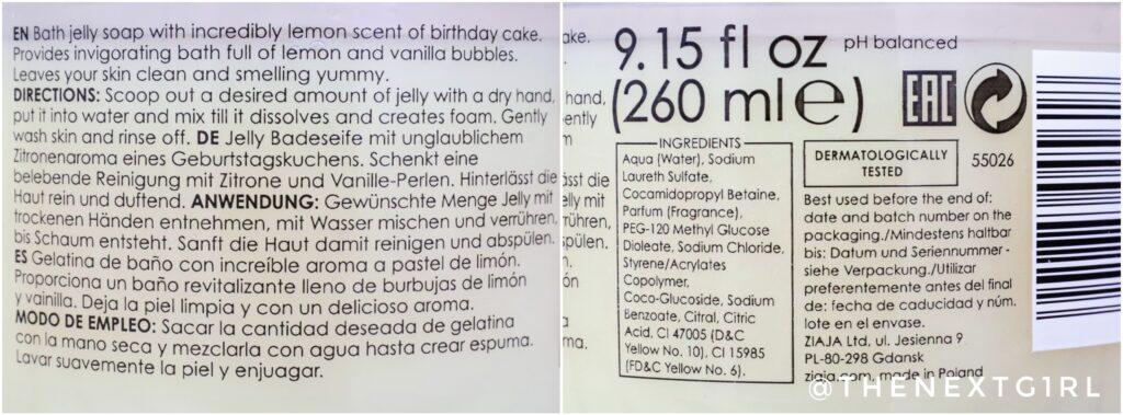 Ingredienten Ziaja bad jelly schuim