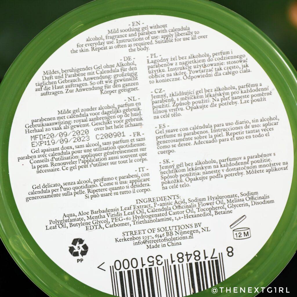 92% aloe vera gel ingredienten