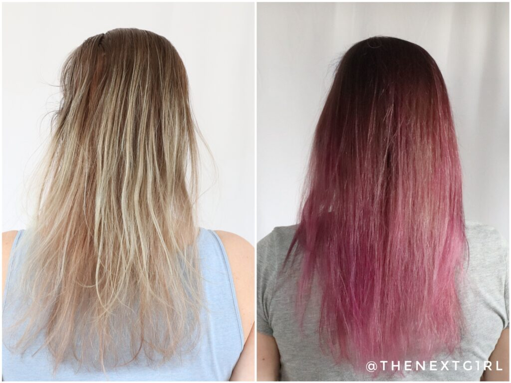 Voor en na foto Mattie roze en paarse haarkleuring