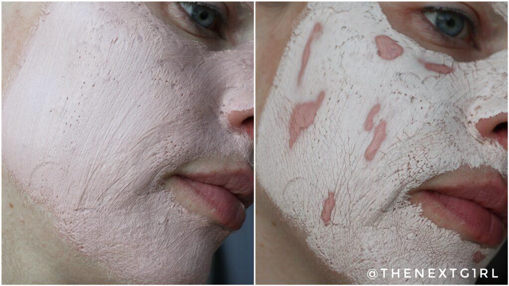 Pink Clay masker na aanbrengen en na 20 minuten