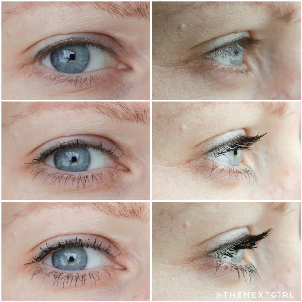 Voor en na aanbrengen mascara laagjes