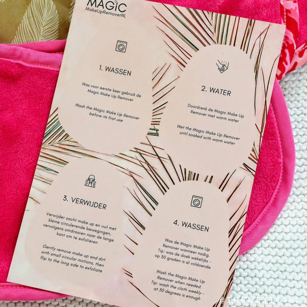 Bijgevoegde beschrijving handleiding magic makeup removers