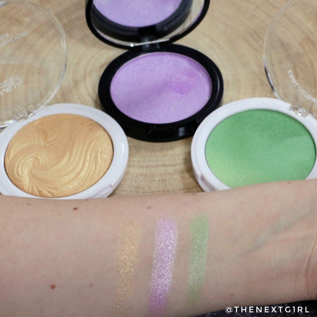 Swatches gekleurde highlighters paars groen goud