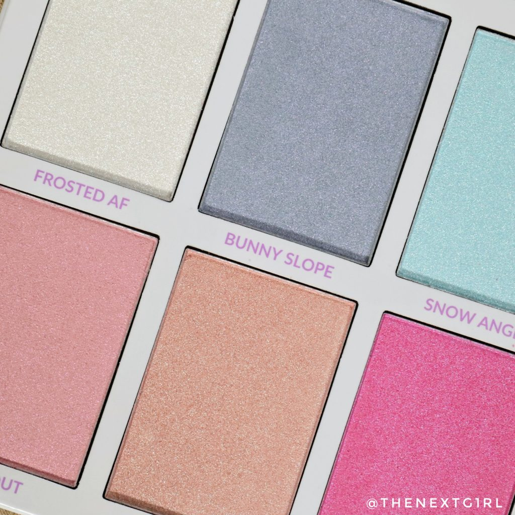 Close-up BH Cosmetics ASPEN palette highlighters