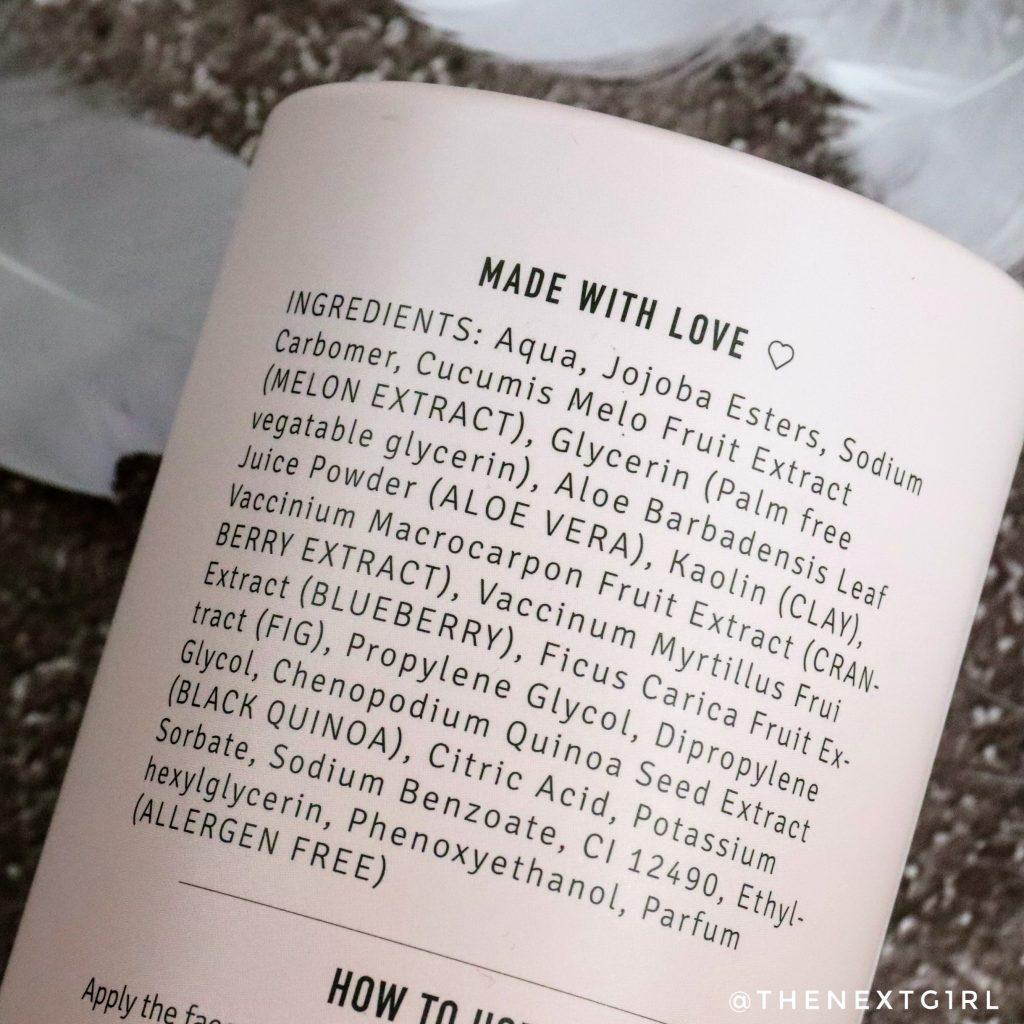 Ingredienten face scrub met jojoba en meloen