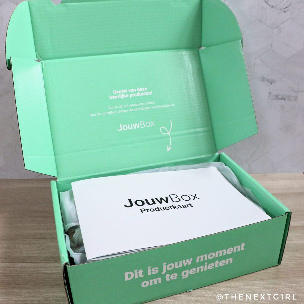 Binnenkant JouwBox beautybox met productkaart
