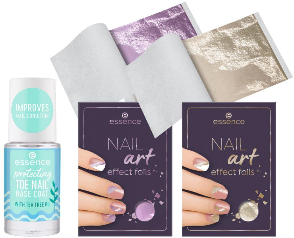 Nail art effect foils protecting toe nail base coat