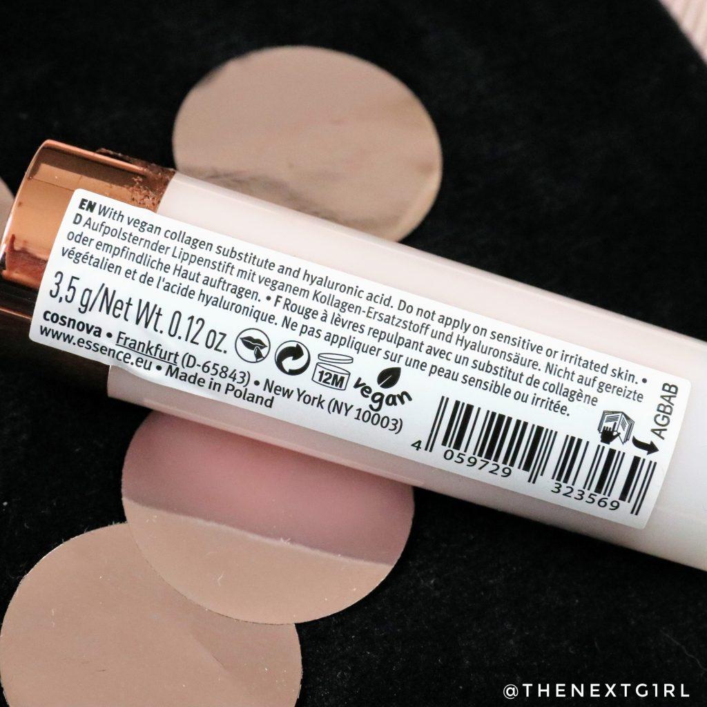 Essence Cool Collagen vegan lipstick informatie 2021