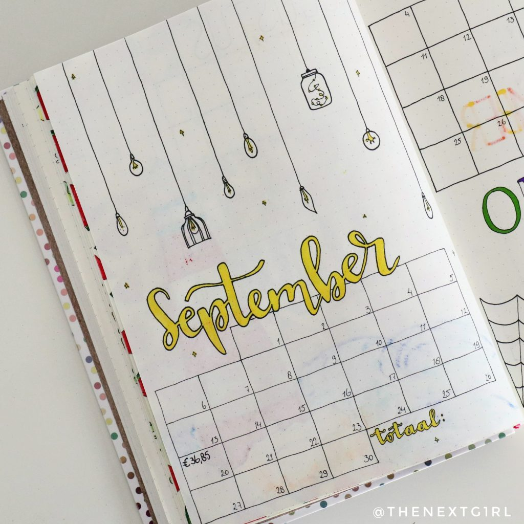 September spread bullet journal purchase tracker