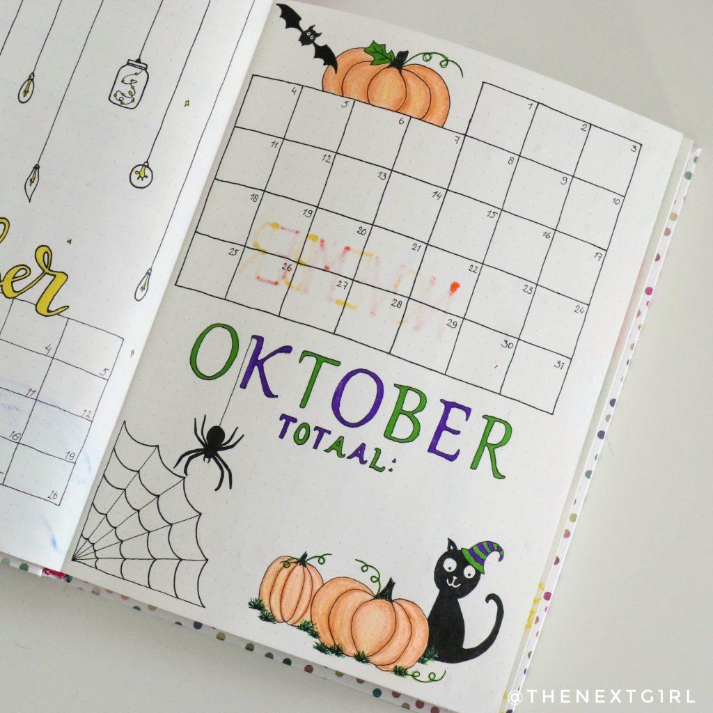 October spread Halloween bujo purchase tracker